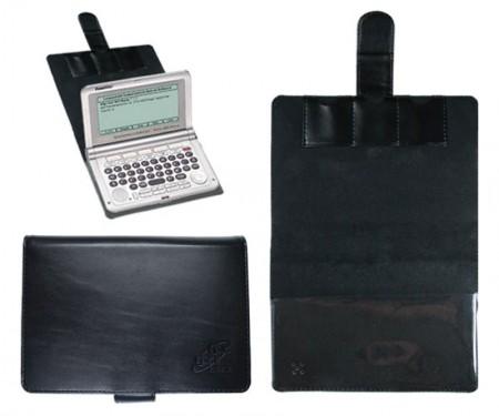 CalcCase Schutztasche für Franklin 1900-Serie und 1880/1680 aus schwarzem Leder mit Folienhalterung