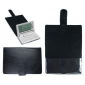 CalcCase Schutztasche für Franklin 1660-Serie und BDS-1860 aus schwarzem Leder mit Folienhalterung